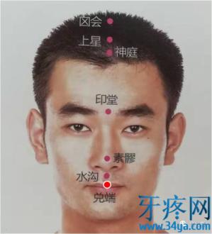 兑端穴的准确位置图功效与作用:清热散风,开窍醒神,治疗口疮臭秽,牙痛,鼻塞